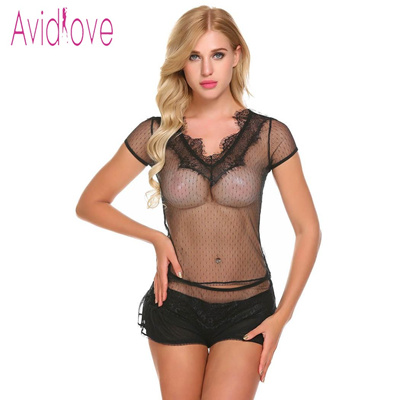 8bd462f396 Avidlove 2018 New Lingerie Sexy Hot Erotic Underwear Women O Neck Cap  Sleeve Lace See Through