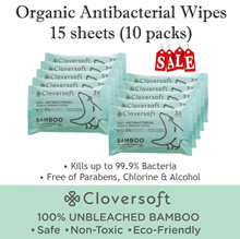 Cloversoft Antibacterial Wet wipes Bamboo Organic Anti bacterial Travel wet tissue 15sheets Bundle