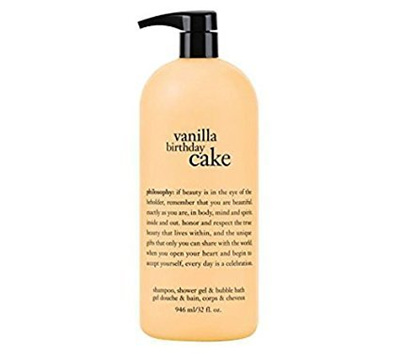 Philosophy Vanilla Birthday Cake Shampoo Shower Gel Bubble Bath 32