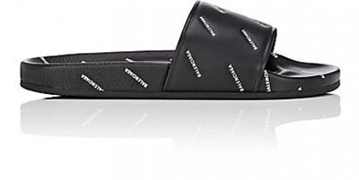 a7f228e9cda1 Qoo10 - Balenciaga Men  s Logo-Stamped Leather Slide Sandals   Shoes