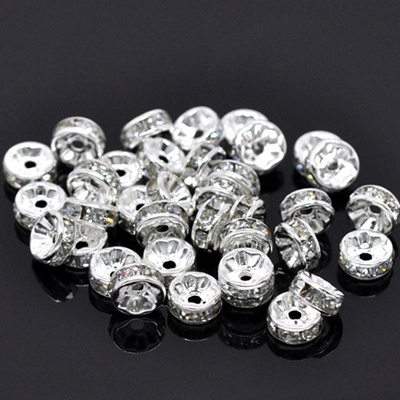 New Popular 50 Pcs Silver Plated Rondelle Glass Crystal Beads for Basketball Wives Earring
