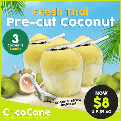 3 x Fresh Thai Pre-Cut Coconut for $8 (UP$11.90)