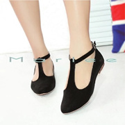 Marlee Angkle Strap Flat Shoes MMT-05- Black Pointed toe