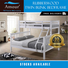 Amour® Solid Wood Queen and Single Size Bunk Bed With Pull out Bed Free delivery 10 Years Warranty