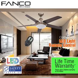 ★★ Fanco Aroma Ceiling Fan ★★ 54 inch FREE LED light and remote control. Local Lifetime warranty aluminum motor. ABS Blade WH MS GM AB Singapore Safety Mark