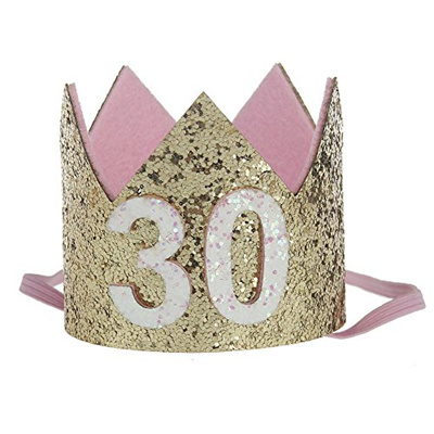 Floral Fall 20th 21st 30th Birthday Crown Golden Adult Thirty Flirty Party Hat HG