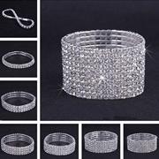New Style Fashion 1-10 Rows Women Rhinestone Crystal Elastic Stretch Silver Cuff Bracelet Bangle for
