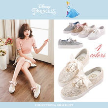 Gracegift-Disney Princess Cinderella Glittery Crown Charm Sneaker/Women/Ladies Shoes/Taiwan Fashion