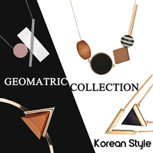 KOREAN STYLE GEOMETRIC WOODEN NECKLACE ✧ MARBLE /  CRYSTAL / GEM / STONE /   ✧ EARRING ✧ BANGLE