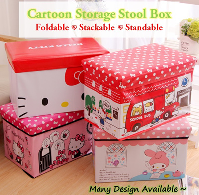 Hello Kitty Snoopy Pooh Melody Cartoon Foldable Storage Box Chair 💖  Stack-able Bedsheet 0aff756255dcd