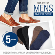 [Pack of 5 Pairs] Men Invisible Socks 100% Cotton shaped design to disappear underneath your shoes