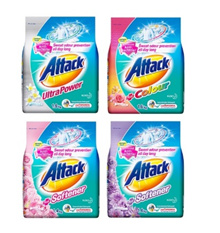 Bundle of 4 x Attack Laundry Powder Detergent 1.4 / 1.6kg / Washing / Clothes / Fabric