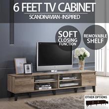 SO Cevo 6ft / 1.8m 2 Doors TV Cabinet / TV console / Tv Rack (Light Oak)
