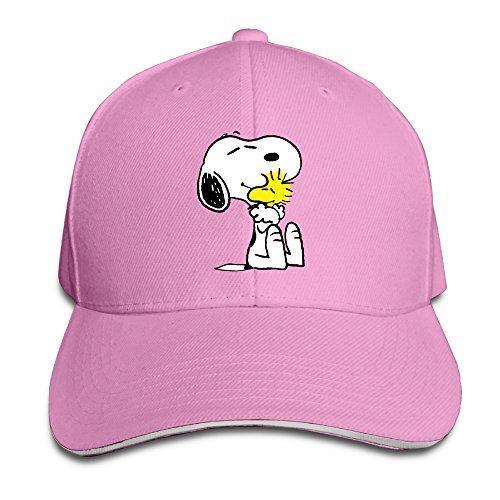 Unisex Snoopy Peanut Adjustable Snapback Baseball Cap Pink One Size