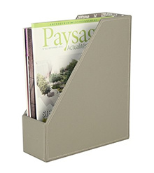 Ms.Box PU Leather Magazine Document File Holder Organizer, Grey, 10 x 3.6 x 12 inches