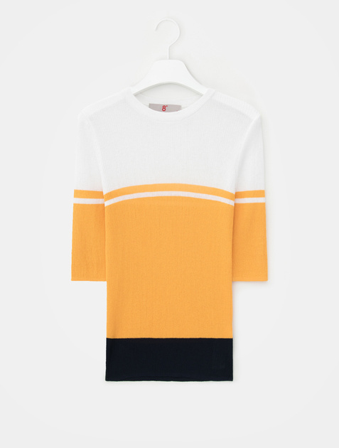 8SECONDS Color Block Half Sleeve Knit Pullover - Mustard