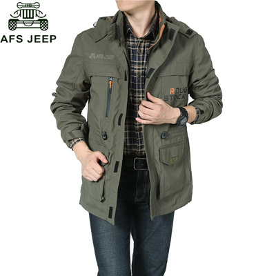 bfdebd74a sale AFS JEEP Brand Clothing Jacket Men Bomber Jacket Military Army Green  Multi-pocket Waterproof Wi