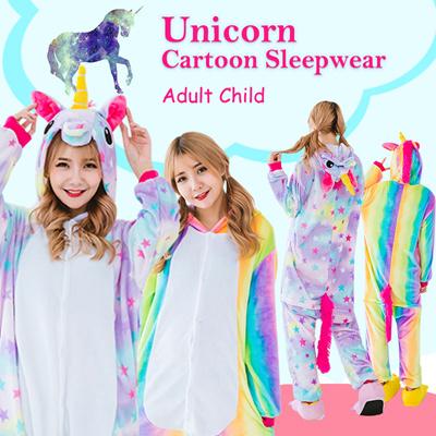 1f64dae11a Adult Child Rainbow Unicorn Onesie Cartoon Sleepwear Star Pajamas Anime Cosplay  Costume