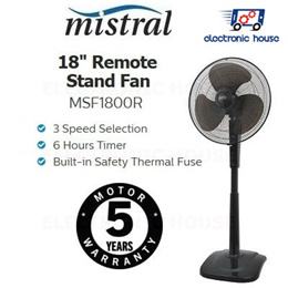 ★ Mistral MSF1800R 18 Inch Remote Stand Fan ★ (5 Years Warranty for Fan Motor)