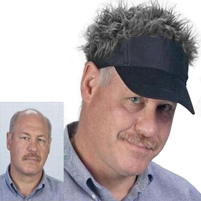 d59f68f4 Flair Hair Sun Visor Cap with Fake Hair Wig Novelty Baseball Cap