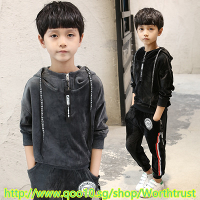 9af8c70e5ad5 ¥¥Baby children clothing boys set sweater autumn winter warm gold velvet  leisure sports two