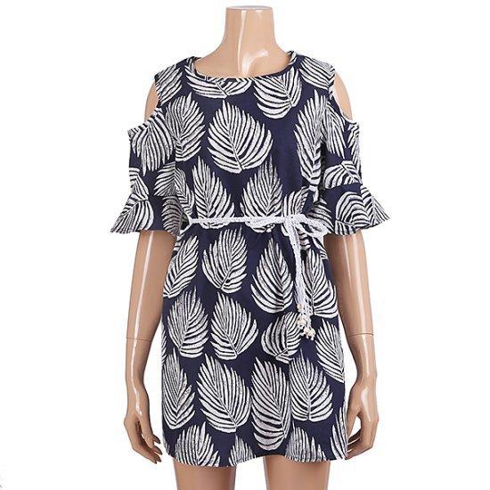 パシペ木の葉ワンピースF72MOP205 面ワンピース/ 韓国ファッション