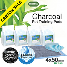 [200PCS] HERITAGE Charcoal Ultra-absorbent Pets Training Pads with Odour Control 60x45cm