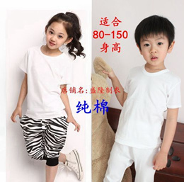 Kids Children u0026#39 s cotton short-sleeved T-shirt plain white t-shirt girls and boys round neck