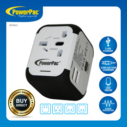 PowerPac Multi Travel Adapter With 2 USB Charger (PP7971)