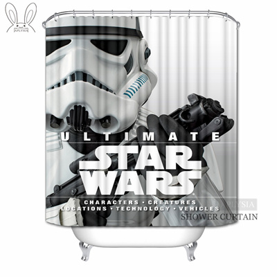 Aplysia Star Wars Shower Curtains Alien Robot Movies Custom Waterproof  Fabric Bathroom Curtains For