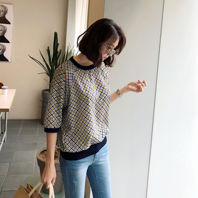 [mayblue官方旗艦店] Diamond Pattern 七分袖襯衫