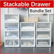 [Bundle Set] *Free Shipping* Stackable Drawer Box Cabinet Movable Portable Wheels Wardrobe Organizer