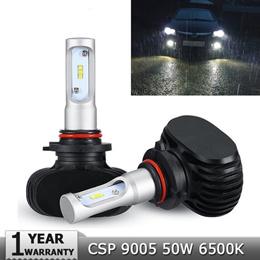 H7 9005/HB3 9006/HB4 H4 Led Car Bulbs 6500K White CSP Chips 50W Auto LED Headlight Kits Fan-less H11