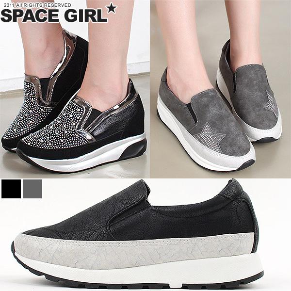 [Space Girl]裂紋皮革鉚釘裝飾休閒厚底鞋(3款造型可選)