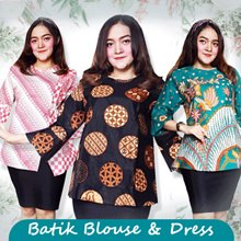 SUPERSALE!Premium Batik - Atasan Blouse Batik Kimono Dress Tunik Batik Wanita!100% CUSTOMERSATISFIED