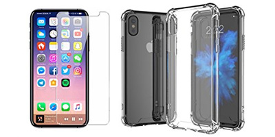 timeless design aaa55 52c0e Iphone x case and iphone x Tempered Glass Clear Screen Protector kit for  iphone x,Clear Shock Absorp