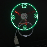 Mini USB LED Exclusive Patent Clock Cool Fan With Real Time Display Function