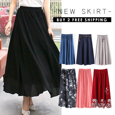 0941d72ecf0a1 ♥NEW UPDATE♥Double Layer Chiffon linen Long/Maxi Candy Colour Skirt / BUY 2  FREE SHIPPING