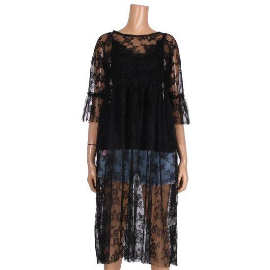 レコブ女性衣類シースルー・フラワーレースロングワンピースLU3177OP598X シフォン/レース/フリル