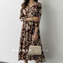 ●MAOMAO●2018 new V neck flower printed long  sleeve dress