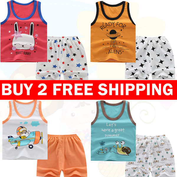 Buy 2 Free Shipping Kids Vest Shorts Cotton 100% 2 Piece Sets Boys and Girls Clothes top bottom set Deals for only S$9.9 instead of S$9.9