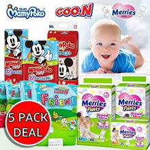 *QOO10 PROMO* MAMY POKO Mickey Mouse / GOON / MERRIES Special Doraemon Edition Diaper. 5 Pack Sales