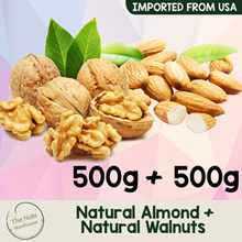 [BESTSELLER] Premium Walnuts + Whole Natural Almond [500g + 500g ] The Nuts Warehouse