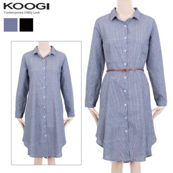 釘宮ダンカラロングシャツ、ワンピースKK3OP305A 綿ワンピース/ 韓国ファッション