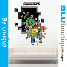 3D Art Wall Sticker the Amazing Minecraft Steve Mining Wall Decal/Cling PVC Wall Poster DIY Home Décor Mural Decals Decoration