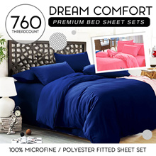 760 Thread Count Pure Color and Premium Bed Sheet in Set (Fitted Type)100% Micro-Fiber/Polyester