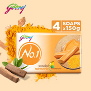 Godrej No.1 Bathing Soap - Sandal  Turmeric 150g (Pack of 4)