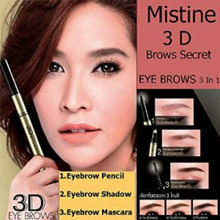 Mistine 3D Brow Secret 3 in 1 EYEBROWS PENCIL/ POWDER/ MASCARA/BROWSCARA/ Brows Makeup Eyebrow