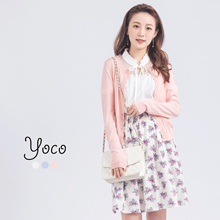 YOCO - Cardigan with Scallop Trim-170649