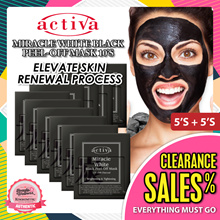 Activa Black Peel Off Mask 5s + 5s [Black Head Remover *Intensive Purify Mask* Contain Oak Charcoal]